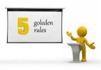 5 Golden Rules Presentation Man 3D PowerPoint